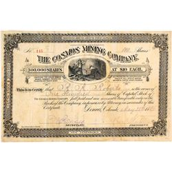 The Cosmos Mining Co. Stock Certificate, Querida & Rosita, CO, 1884
