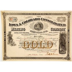 Iowa & Colorado Cons. Mining Co. of Glenwood, Iowa Stock Certificate, 1883