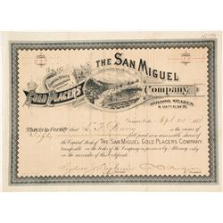 The San Miguel Gold Placers Company Stock Certificate, Telluride, CO 1888