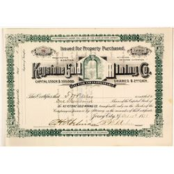 Keystone Gold Mining Co. Stock Certificate, San Miguel Co., Colorado, 1888