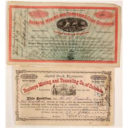 Two Different Buckeye Mining & Tunneling Co. of Colorado Stock Certificates 1878 & 1880