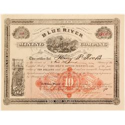 Blue River Mining Co. Stock Certificate, Summit County, 1891