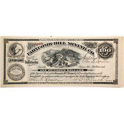 Farncomb Hill Mining Co. Stock Certificate, $100, 1892