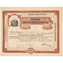 Colorado Gold Dredging Company Stock Certificate, 1906