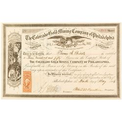 Colorado Gold Mining Co. of Philadelphia Certificate, issued to Thomas A. Biddle