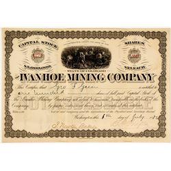 Ivanhoe Mining Company Stock Certificate, Colorado, 1883