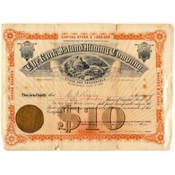 Rock Island Mining Company Stock Certificate, 1884