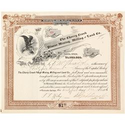 The Cherry Creek Placer Mining, Milling & Land Co. Stock Certificate, 1896