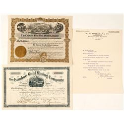 Two Colorado Mining Stock Certificates: Ivanhoe and The Colorado Blue Bell