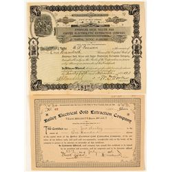Two Early Electrolytic Process Mining Stock Certificates