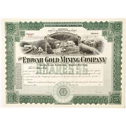 Green Etowah Gold Mining Company Stock Certificate