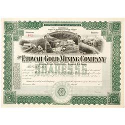 Green Etowah Gold Mining Company Stock Certificate 2