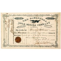 Rare Green on White Dahlonega Gold Mining Company Stock Certificate