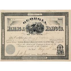 Georgia Mining & Mfg Company Stock Certificate