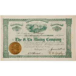 Rare Dahlonega S Lu Mining Company Stock Certificate