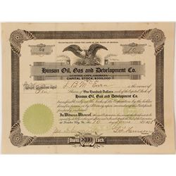 Hinson Oil, Gas and Development Company Stock Certificate
