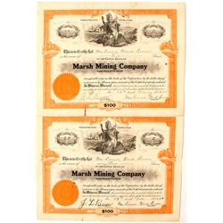 Pair of Marsh Mining Company Stock Certificates
