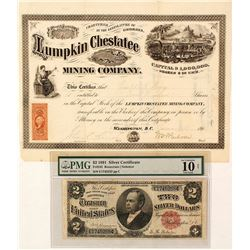 Windom Silver Currency and Stock Certificate