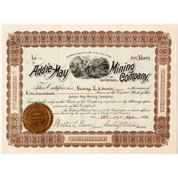 Addie May Mining Company Stock Certificate 1