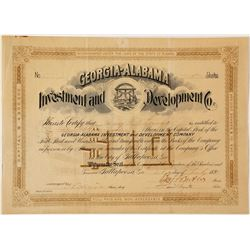 Georgia-Alabama Investment and Development Company Stock Certificate