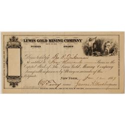 Lewis Gold Mining Company Stock Certificate