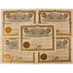 Five Incorporating Company of Georgia Stock Certificates