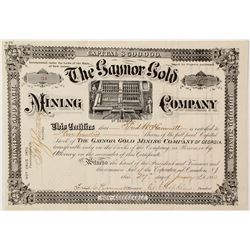 Rare Gaynor Gold Mining Company Stock Certificate