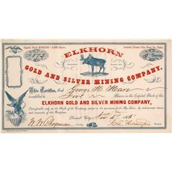 Elkhorn Gold & Silver Mining Co. Stock Certificate, Pioneer City, Idaho Territory, 1865