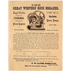Advertising Broadside for The Great Western Rock Breaker