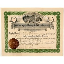 Golden Agate Mining & Milling Co. Stock Certificate, 1906
