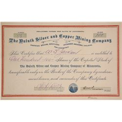 Duluth Silver and Copper Mining Co. Stock Certificate