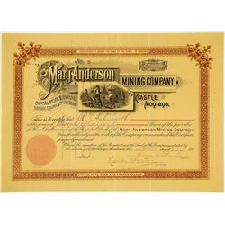 Mary Anderson Mining Co. Stock Certificate, Castle, MT, 1891