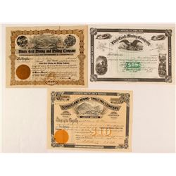 Three Different Montana Mining Stock Certificates