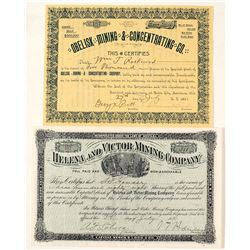 Two Different Montana Mining Stock Certificates