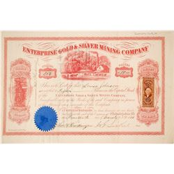 Enterprise Gold & Silver Mining Co. Stock Certificate, Aurora, Nevada, 1866