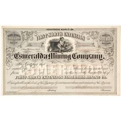 First North Extension Esmeralda Mining Co. Stock Certificate, Aurora, Nevada, 1861