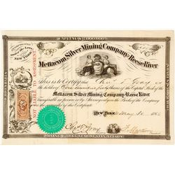 Mettacom Silver Mining Co. of Reese River Stock Certificate, Austin, NV, 1866