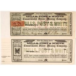 Mills, Post & White Cons. Mining Company Stock Certificate Pair incl Territorial Issued