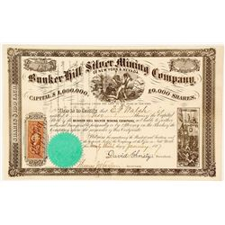 Bunker Hill Silver Mining Co. of New York & Nevada Stock Certificate, 1867