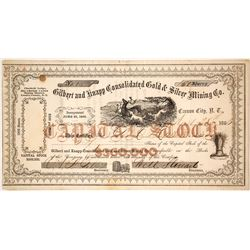 Gilbert & Knapp Cons. G& S Mining Co. Stock Certificate, Big Creek Canon District, Nevada Territory