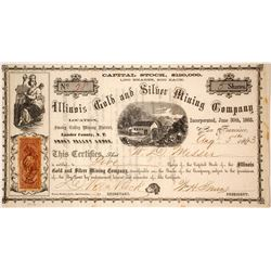 Illinois Gold & Silver Mining Co. Stock Certificate, Smoky Valley District, Nevada Territory, 1863
