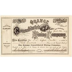 Orange Consolidated Mining Co. Stock Certificate, Eureka District, Lander County, 1877