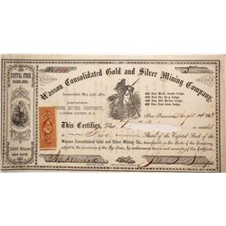 Wasson Cons. Gold & Silver Mining Co. Stock Certificate, Reese River District, Nevada Territory