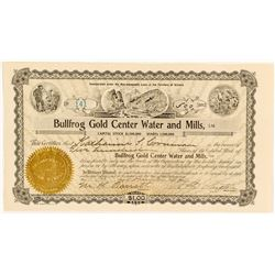 Bullfrog Gold Center Water & Mills Stock Certificate, 1908