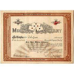 Four Aces Mining Company Stock Certificate, Bullfrog, NV 1905