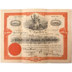 Gibraltar Mines Syndicate Stock Issued to Nevada Gov. John W. Sparks
