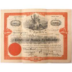 Gibraltar Mines Syndicate Stock Issued to Nevada Gov. John W. Sparks