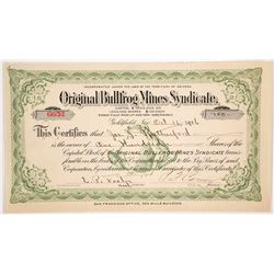 Choice Original Bullfrog Mines Syndicate Stock (with famous green bullfrog)