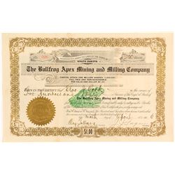 The Bullfrog Apex Mining & Milling Co. Stock Certificate, 1906