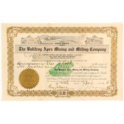 The Bullfrog Apex Mining & Milling Co. Stock Certificate, 1906
